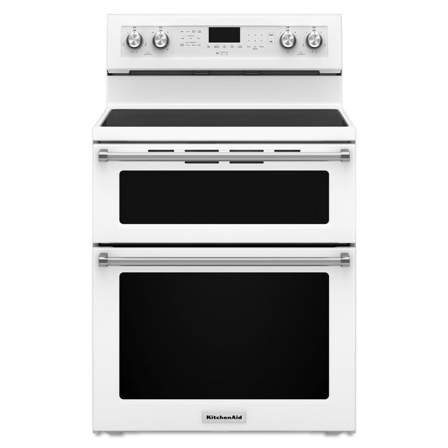 KitchenAid 30-in Smooth Surface 5-Element 4.2-cu ft / 2.5-cu ft Self-Cleaning Double Oven Single-Fan Electric Range (White)
