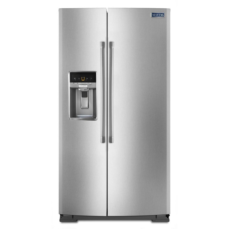 Maytag 20.6-cu ft Counter-Depth Side-by-Side Refrigerator with Single Ice Maker (Monochromatic Stainless Steel)
