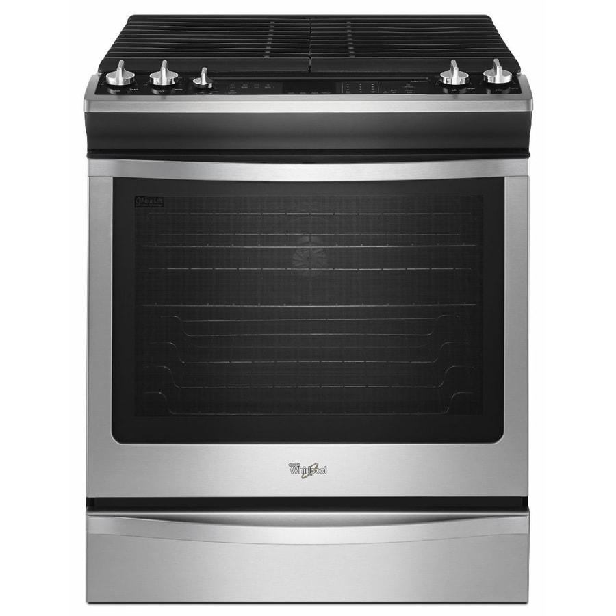 shop whirlpool gold 5 burner 5 8 cu ft slide in convection gas range stainless steel common. Black Bedroom Furniture Sets. Home Design Ideas