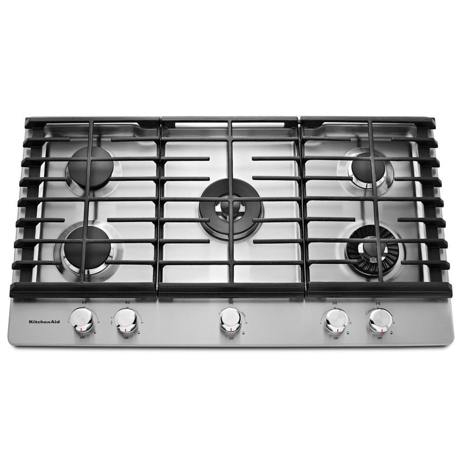KitchenAid 5-Burner Gas Cooktop (Stainless Steel) (Common: 36-in; Actual: 36.25-in)