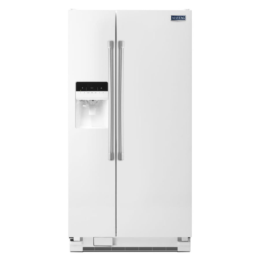 Maytag 21.3-cu ft Side-by-Side Refrigerator with Single Ice Maker (White)