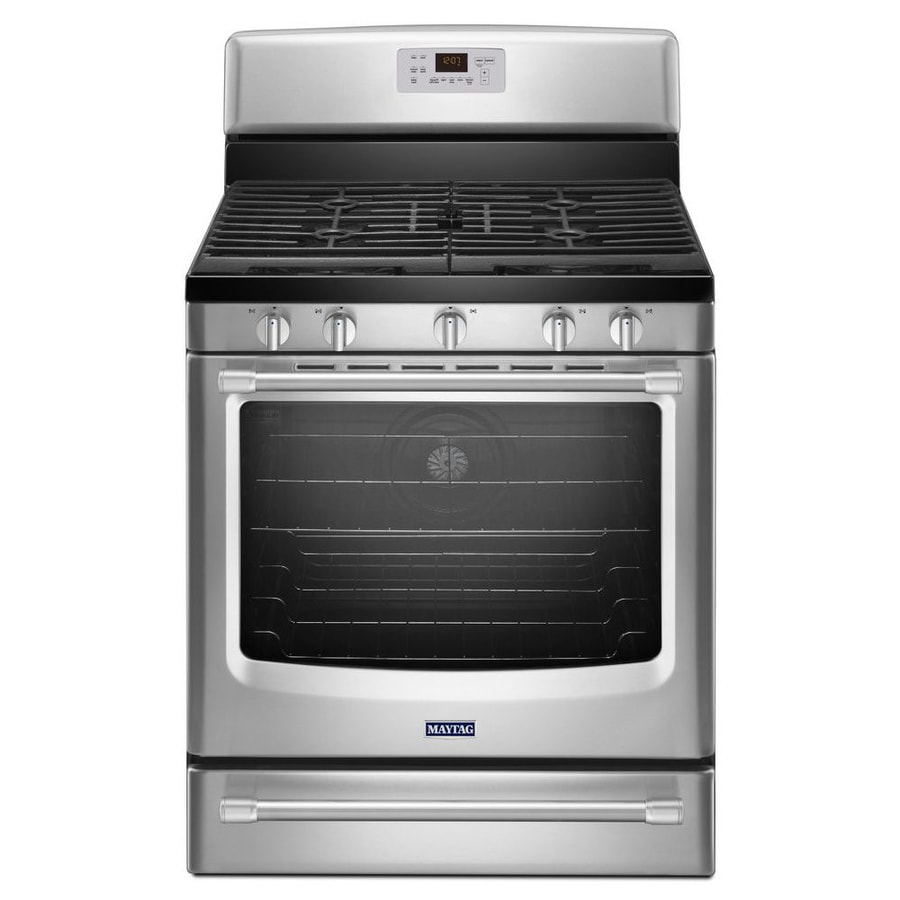 Maytag 5-Burner Freestanding 5.8-cu Self-Cleaning Convection Gas Range (Stainless Steel) (Common: 30-in; Actual: 29.87-in)