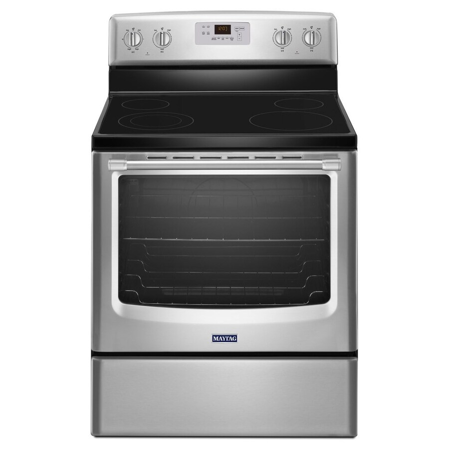 Maytag Smooth Surface Freestanding 6.2-cu ft Self-Cleaning Electric Range (Stainless Steel) (Common: 30-in; Actual: 29.87-in)