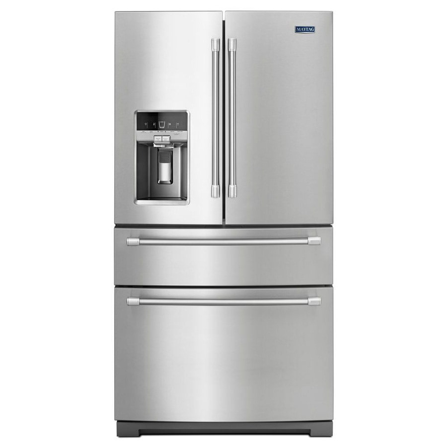 Maytag 26.2-cu ft 4-Door French Door Refrigerator with Single Ice Maker (Stainless Steel)