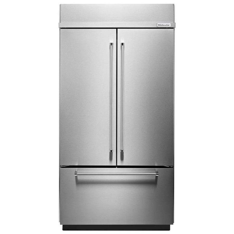 KitchenAid 24.2-cu ft Counter-Depth Built-in French Door Refrigerator with Single Ice Maker (Stainless Steel) ENERGY STAR