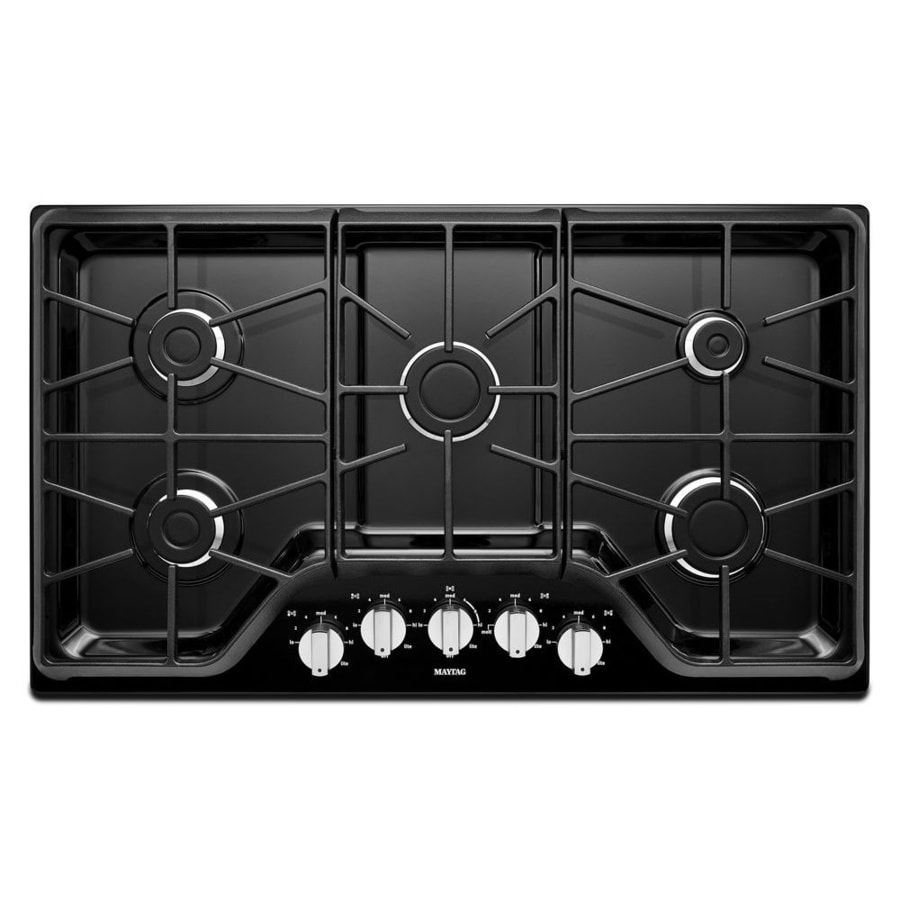 shop maytag 5 burner gas cooktop black common 36 in actual 36 in at. Black Bedroom Furniture Sets. Home Design Ideas