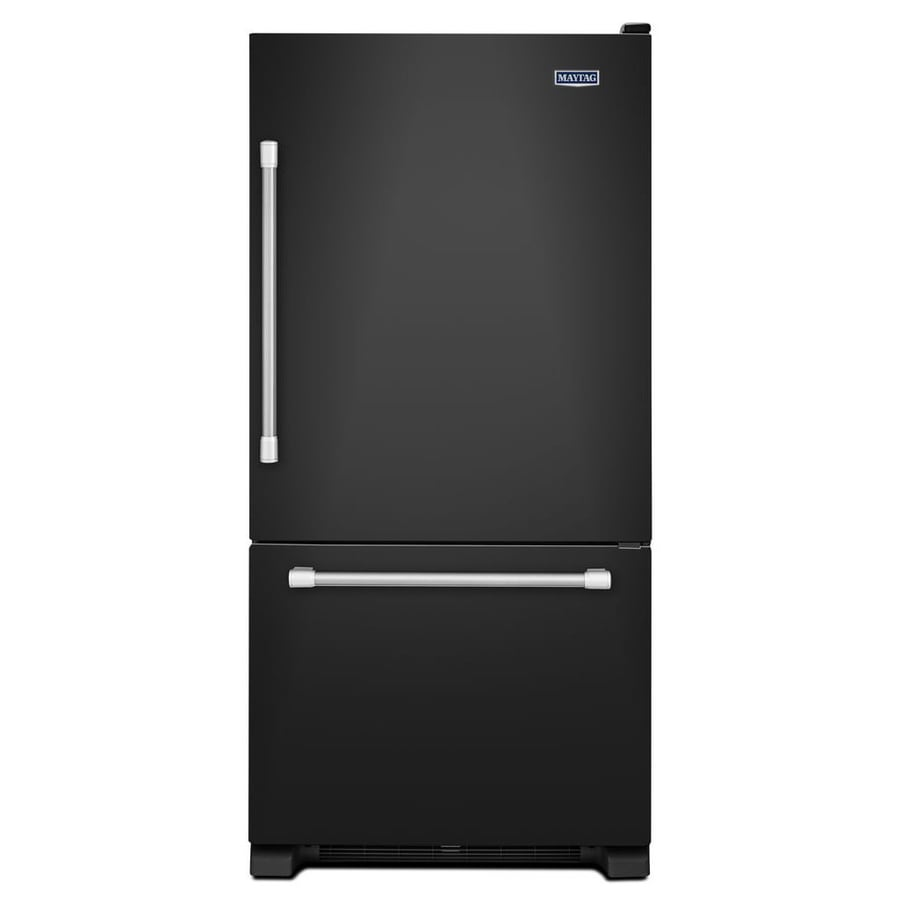 Maytag 22.1-cu ft Bottom-Freezer Refrigerator with Single Ice Maker Ice Maker (Black)