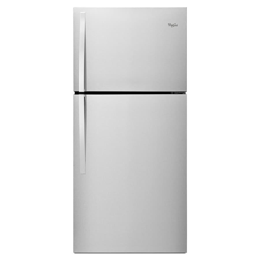 shop whirlpool 19 2 cu ft top freezer refrigerator silver at. Black Bedroom Furniture Sets. Home Design Ideas