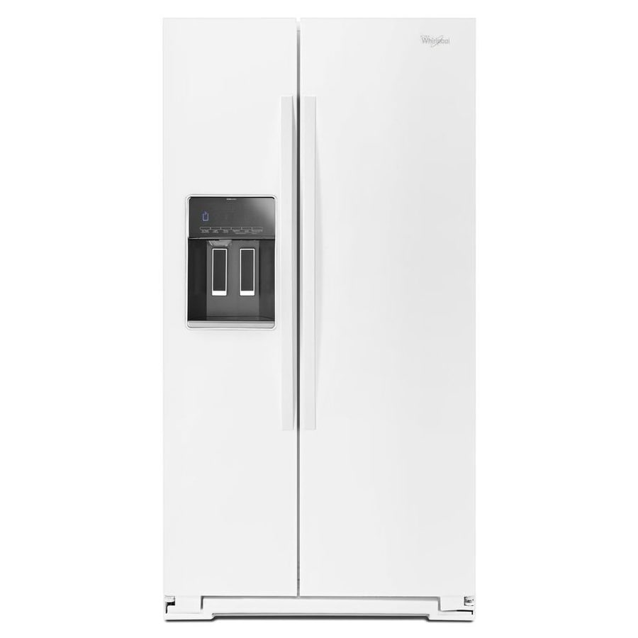 Shop whirlpool 25 6 cu ft side by side refrigerator with single ice maker white energy star at - Whirlpool side by side ...