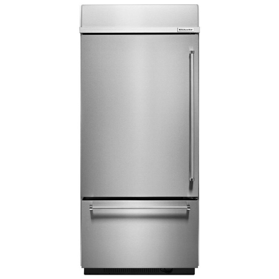 KitchenAid 20.86-cu ft Bottom-Freezer Refrigerator Built-In with Single Ice Maker Ice Maker (Stainless Steel) ENERGY STAR