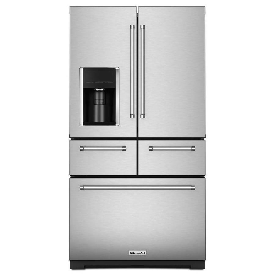 Kitchenaid 25 8 Cu Ft 5 Door 36 In French Door Refrigerator Platinum Interior Design Stainless Steel With Printshield Finish In The French Door Refrigerators Department At Lowes Com