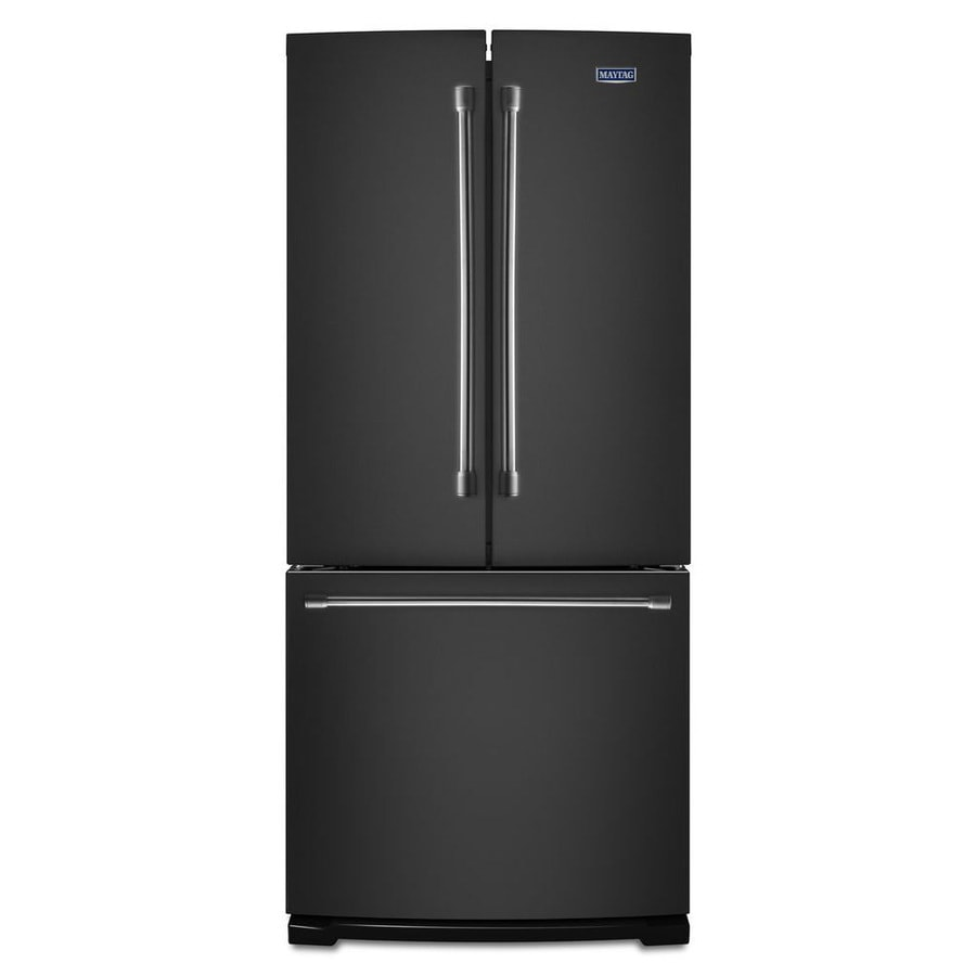Kitchenaid 30 19 7 Cu Ft French Door Refrigerator With: Shop Maytag 19.7-cu Ft French Door Refrigerator With Single Ice Maker (Black) At Lowes.com