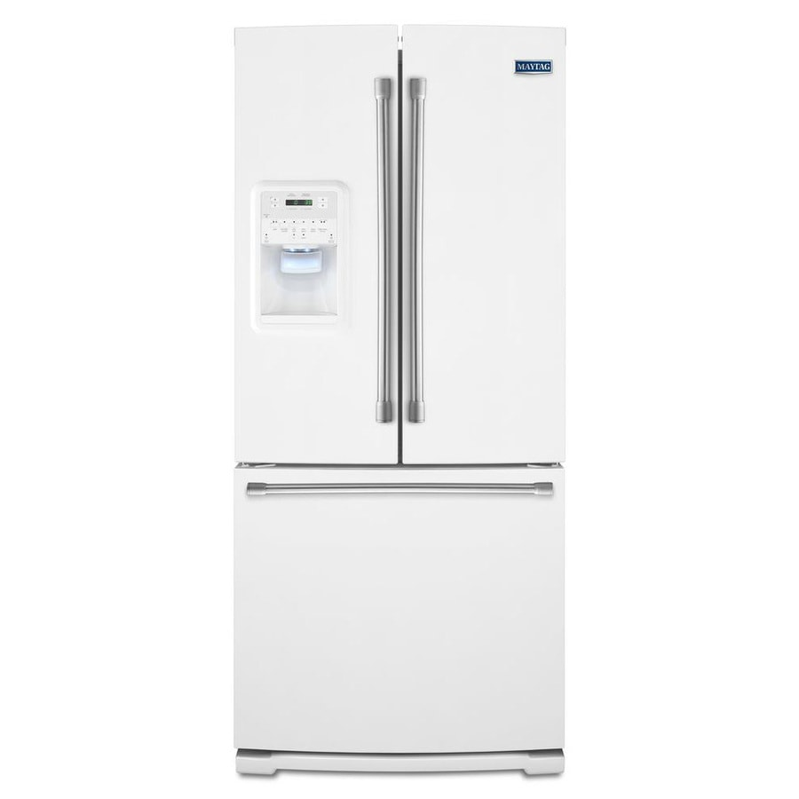 Shop maytag 19 7 cu ft french door refrigerator with single ice maker white at for 19 cu ft refrigerator french door