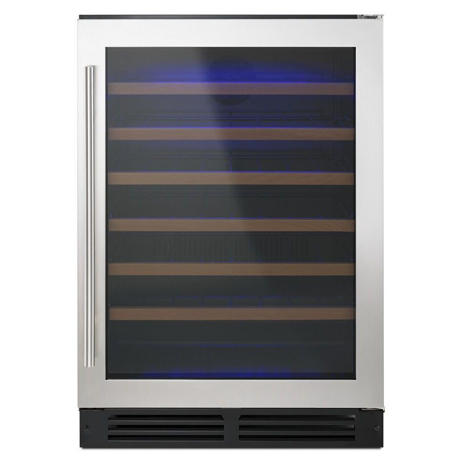 Shop whirlpool 51 bottle black on stainless wine chiller at lowes com