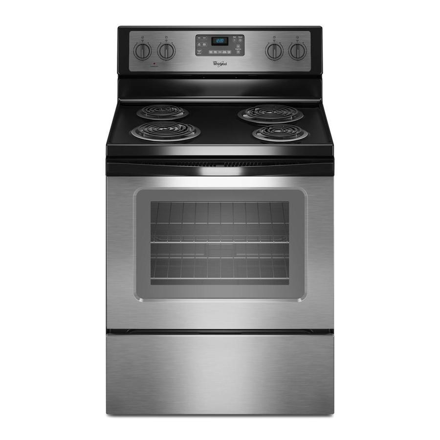 Whirlpool Freestanding 4.8-cu ft Self-Cleaning Electric Range (Black-on-Stainless) (Common: 30-in; Actual: 29.875-in)