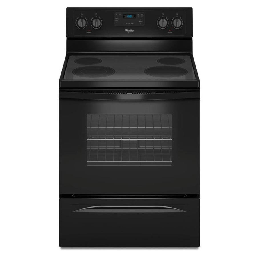 Whirlpool Smooth Surface Freestanding 4 4.8-cu ft Electric Range (Black) (Common: 30-in; Actual: 29.875-in)