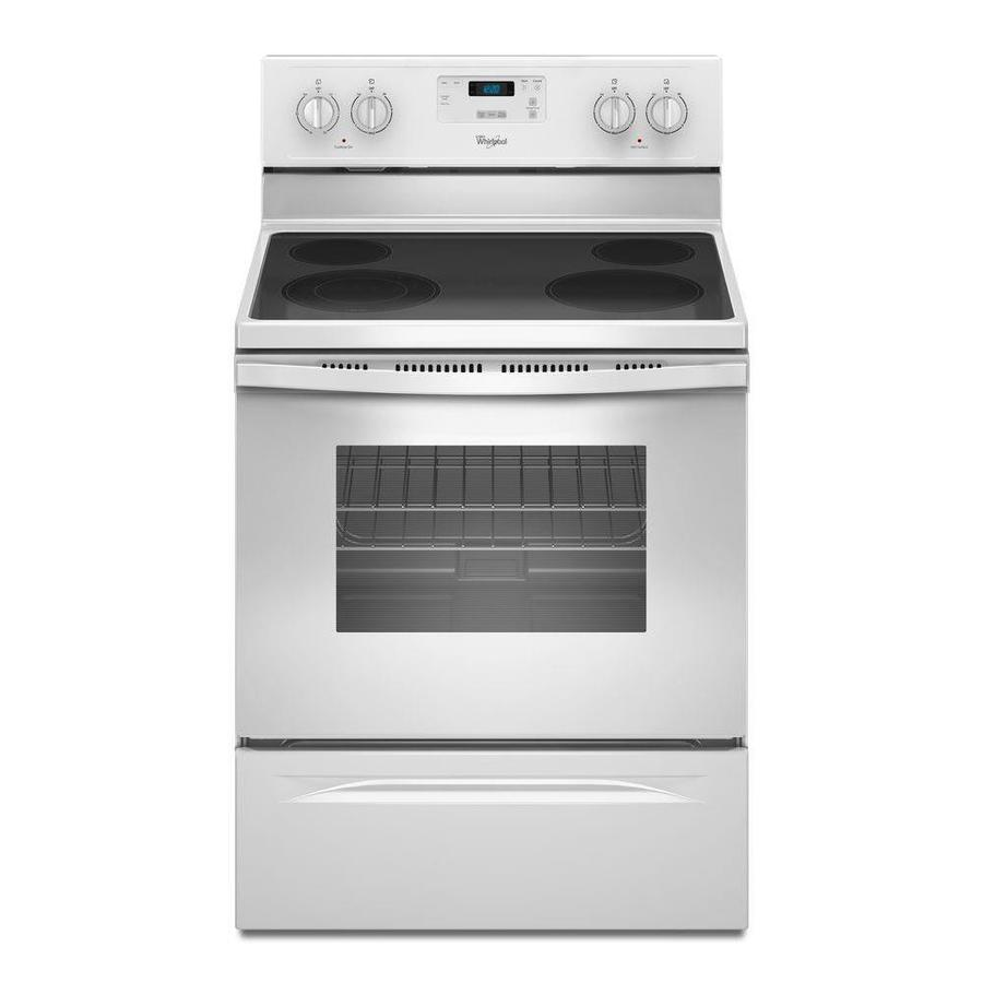 shop whirlpool smooth surface freestanding 4 4 8 cu ft electric range white common 30 in. Black Bedroom Furniture Sets. Home Design Ideas