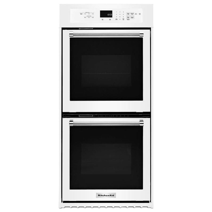 KitchenAid Self-Cleaning Convection Double Electric Wall Oven (White) (Common: 24-in; Actual: 23.75-in)