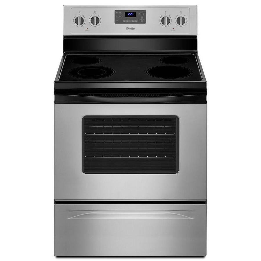 Whirlpool Smooth Surface Freestanding 4-Element 5.3-cu ft Self-Cleaning Electric Range (Silver) (Common: 30-in; Actual: 29.875-in)