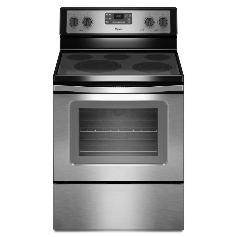 Whirlpool Smooth Surface Freestanding 5-Element 5.3-cu ft Self-Cleaning Convection Electric Range (Black-on-Stainless) (Common: 30-in; Actual: 29.875-in)