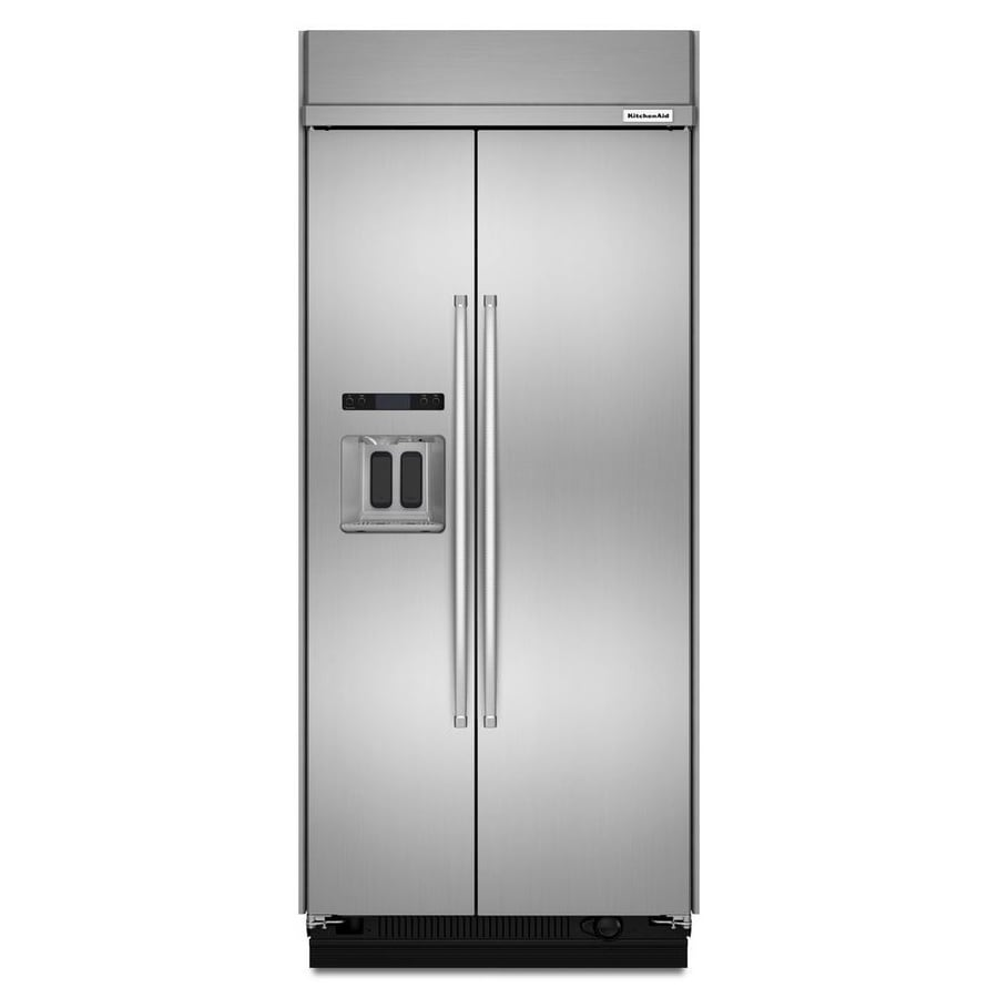 Shop Kitchenaid 24 8 Cu Ft Side By Side Refrigerator With: Shop KitchenAid 20.8-cu Ft Counter-Depth Built-in Side-by
