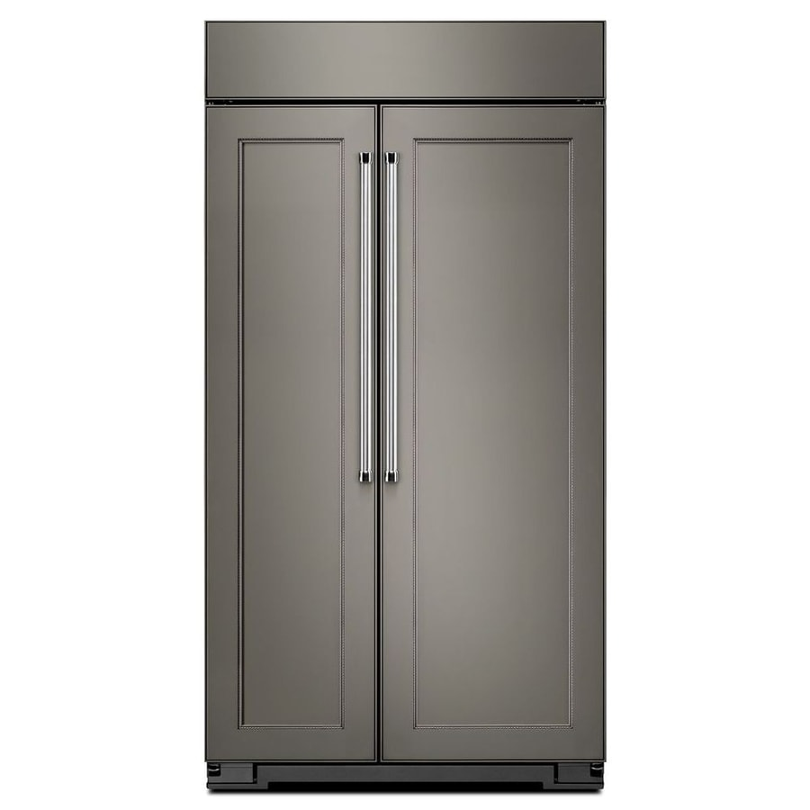 Shop KitchenAid 25.5-cu Ft Counter-Depth Built-in Side-by-Side Refrigerator With Single Ice