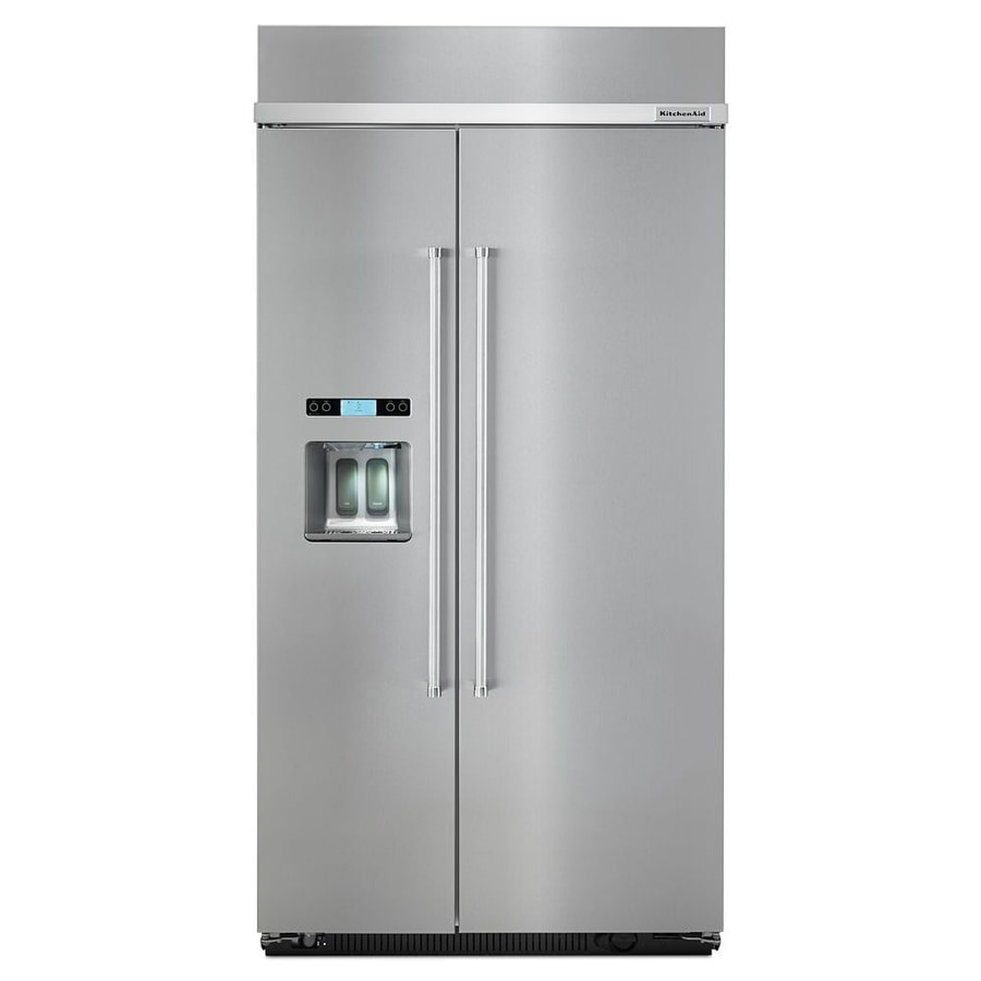 Shop KitchenAid 25-cu Ft Counter-Depth Built-in Side-by-Side Refrigerator With Single Ice Maker