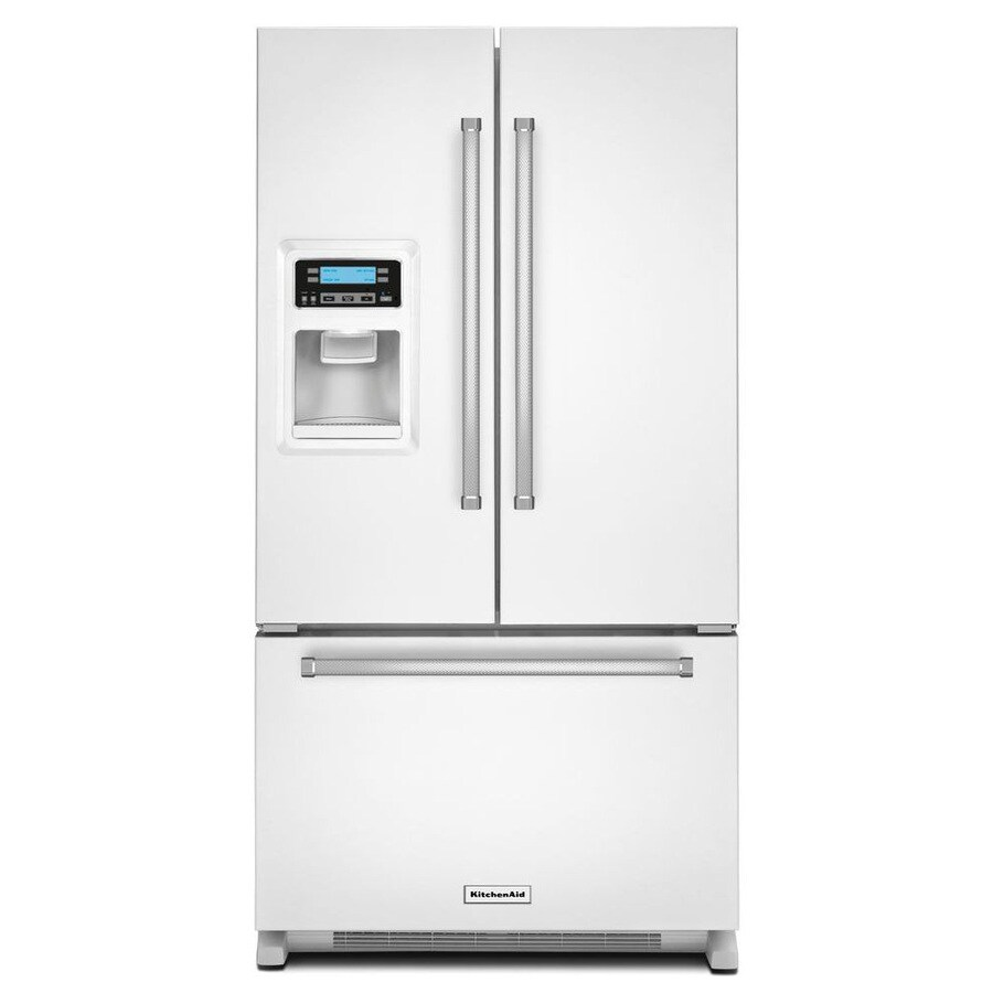 Shop KitchenAid 19.72-cu Ft Counter-Depth French Door Refrigerator With Single Ice Maker (White