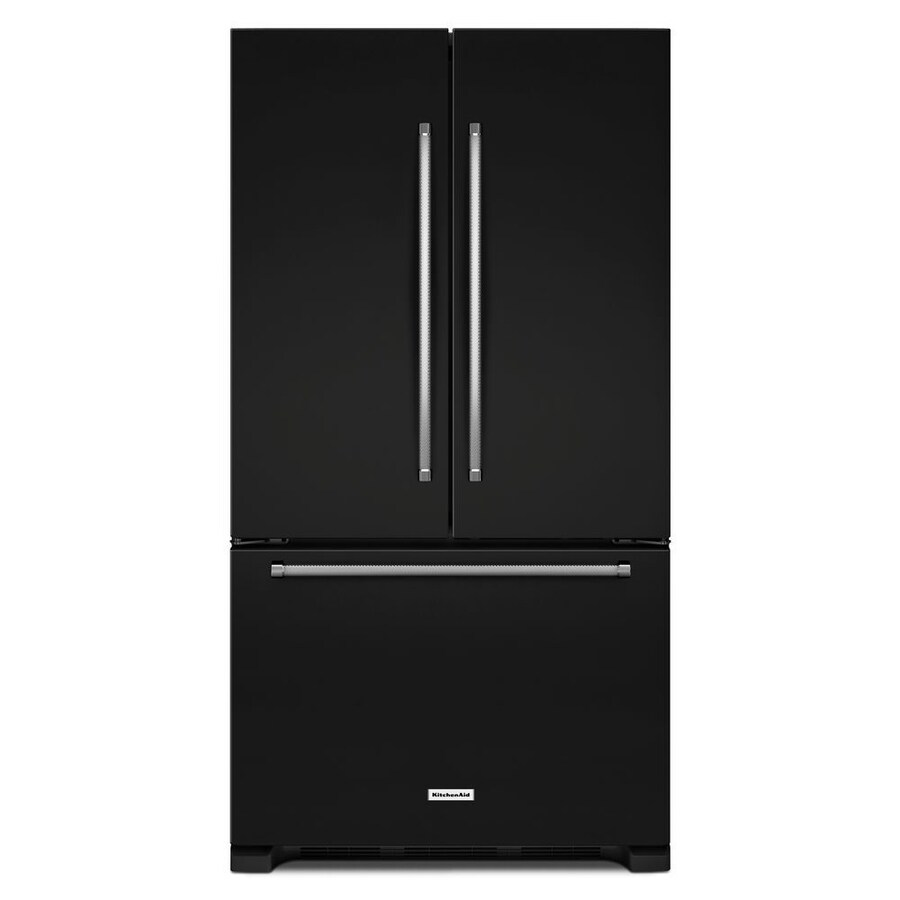 KitchenAid 25.2-cu ft French Door Refrigerator with Single Ice Maker (Black) ENERGY STAR