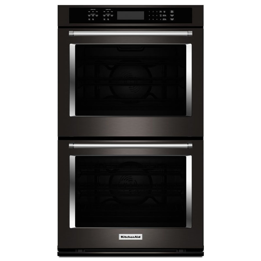 KitchenAid Self-Cleaning Convection Double Electric Wall Oven Single-Fan (Black Stainless Steel) (Common: 30-in; Actual: 30-in)
