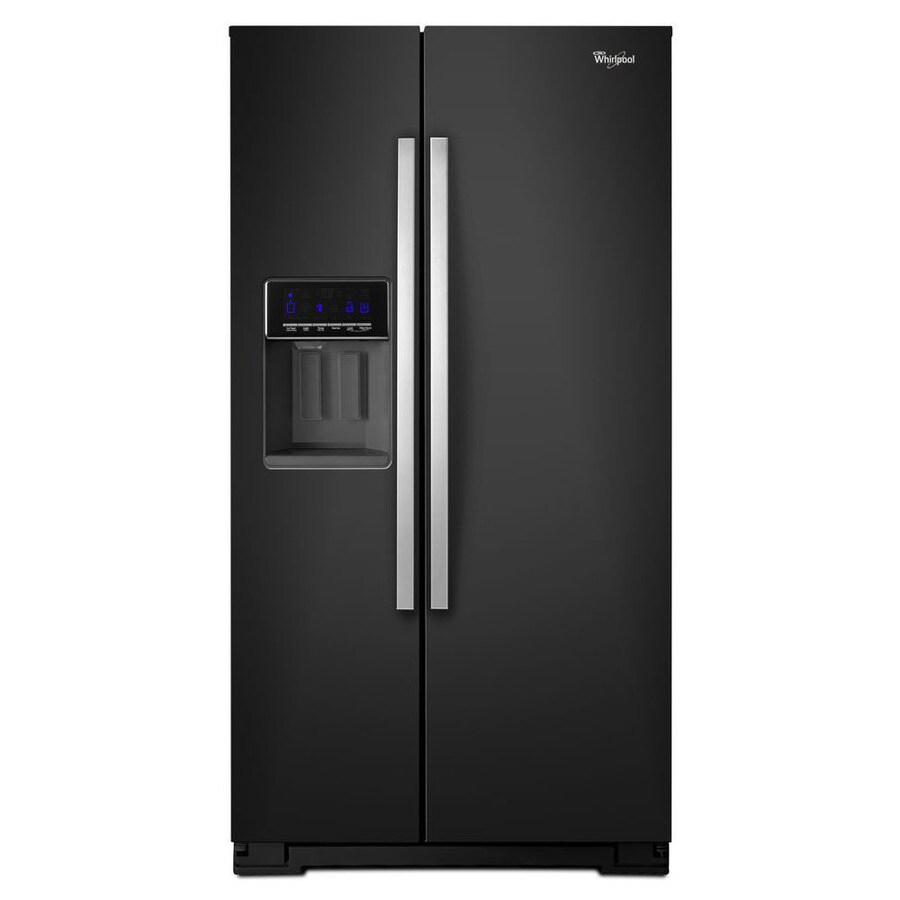Whirlpool 25.6-cu ft Side-by-Side Refrigerator with Single Ice Maker (Black Ice) ENERGY STAR
