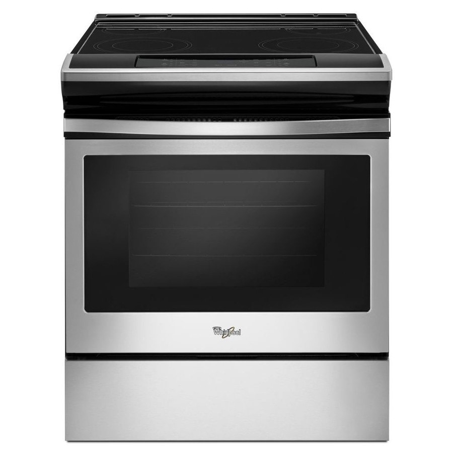 Whirlpool Smooth Surface 4-Element Slide-In Self-Cleaning Electric Range (Black-On-Stainless) (Common: 30-in; Actual 29.875-in)