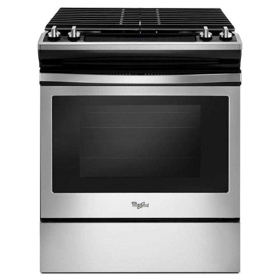 Whirlpool 4-Burner 5-cu ft Slide-In Gas Range (Black-On-Stainless) (Common: 30-in; Actual 29.875-in)