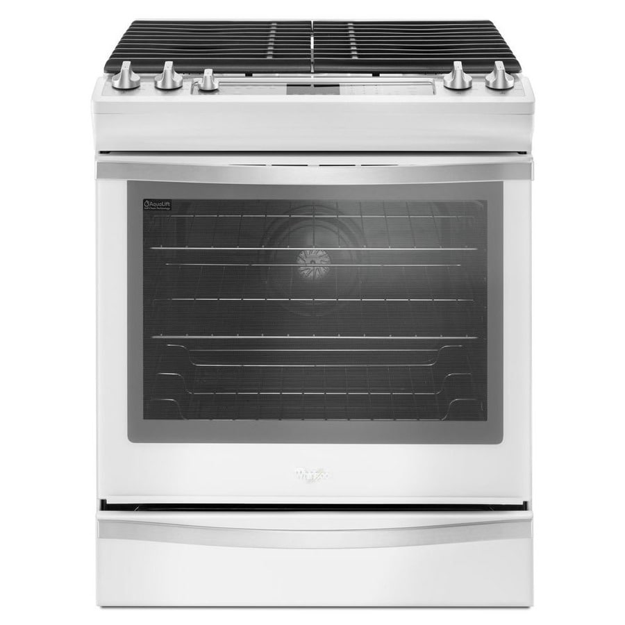 Whirlpool 5-Burner 5.8-cu ft Self-Cleaning Slide-In Convection Gas Range (White Ice) (Common: 30-in; Actual 29.875-in)