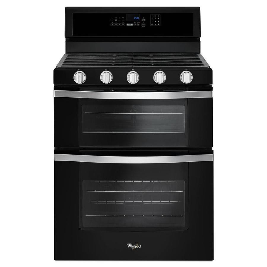 Whirlpool 30-in 5-Burner 3.9-cu ft/2.1-cu ft Self-Cleaning Double Oven Convection Gas Range (Black Ice)