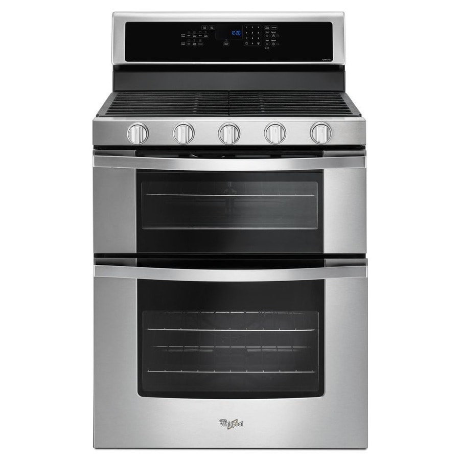 Shop Whirlpool 30 In 5 Burner 3 9 Cu Ft 2 1 Cu Ft Double