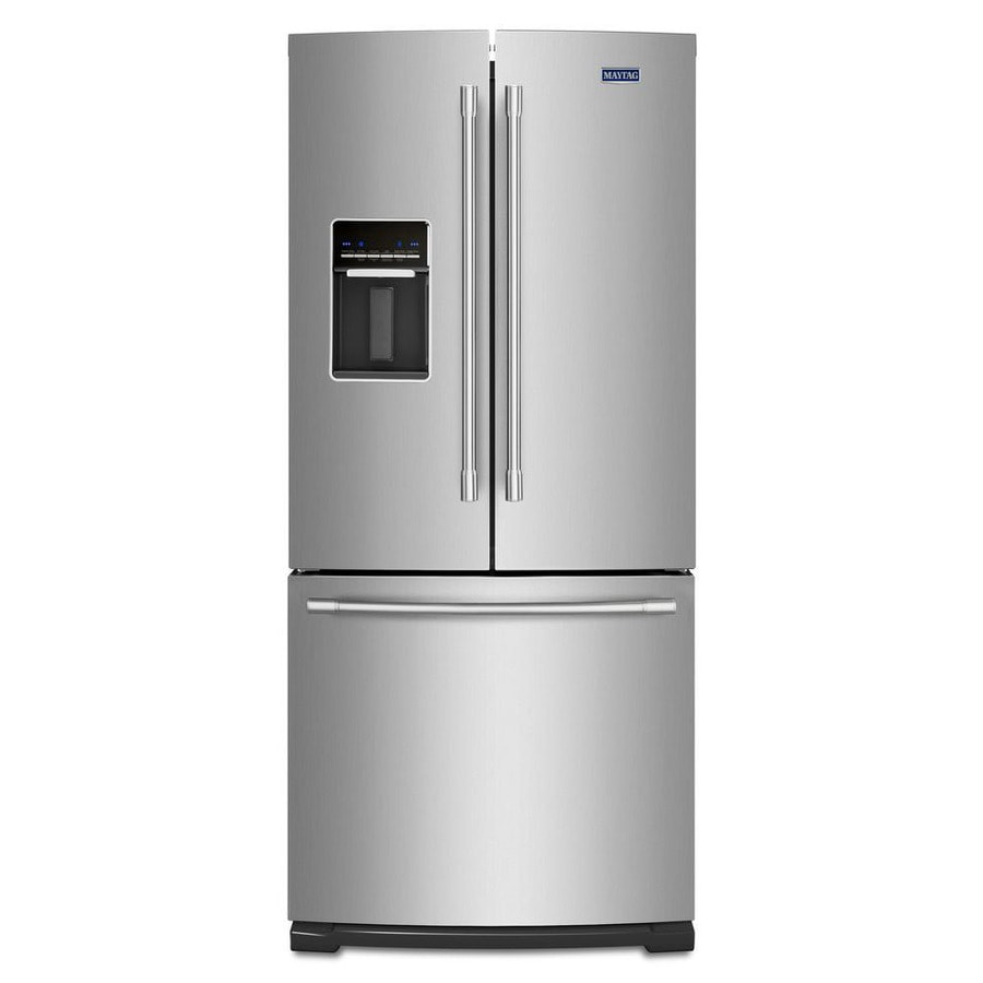 Maytag 19.7-cu ft French Door Refrigerator with Single Ice Maker (Fingerprint Resistant Stainless Steel)