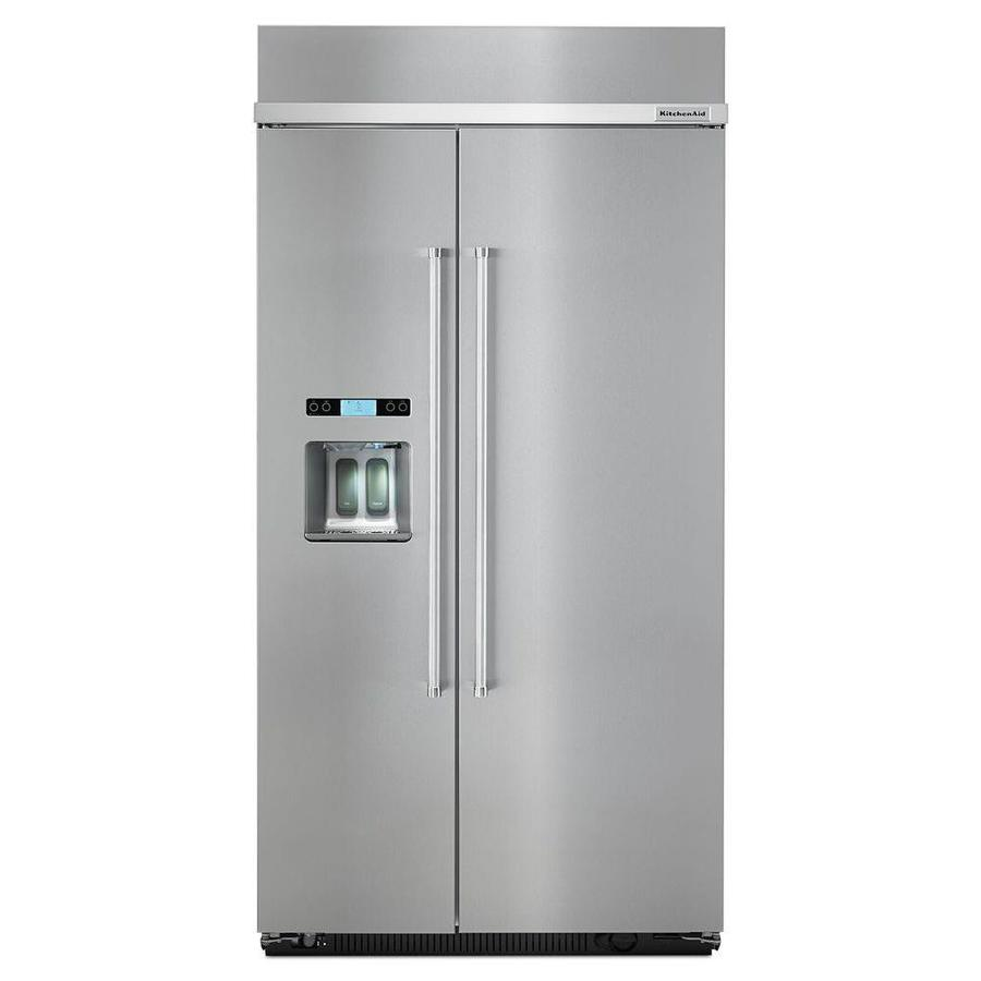 KitchenAid 25.02-cu ft Counter-Depth Built-In Side-by-Side Refrigerator with Singe Ice Maker (Stainless Steel) ENERGY STAR