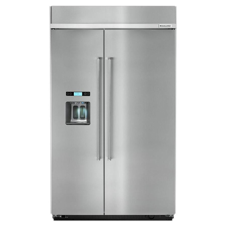 KitchenAid 29.52-cu ft Counter-Depth Built-In Side-by-Side Refrigerator with Singe Ice Maker (Stainless Steel) ENERGY STAR