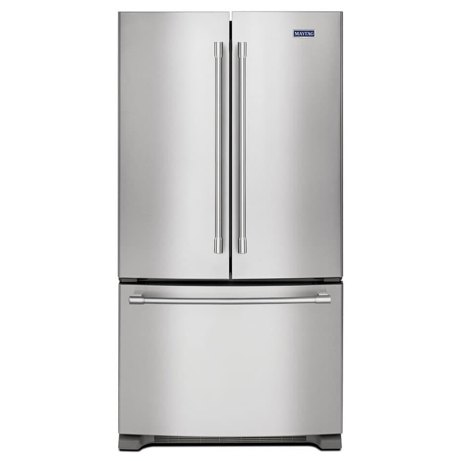 Maytag 20-cu ft Counter-Depth French Door Refrigerator with Single Ice Maker (Fingerprint Resistant Stainless Steel) ENERGY STAR
