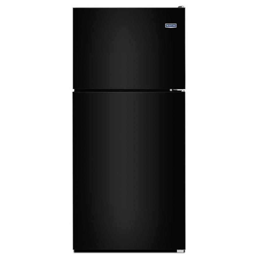 Shop Maytag 18 2 Cu Ft Top Freezer Refrigerator Black At Lowes Com