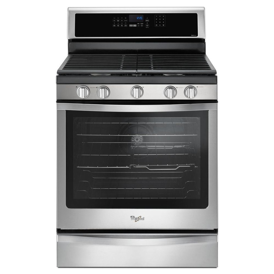 Whirlpool 5-Burner Freestanding 5.8-cu ft Self-Cleaning Convection Gas Range (Fingerprint Resistant Stainless Steel) (Common: 30-in; Actual: 29.875-in)