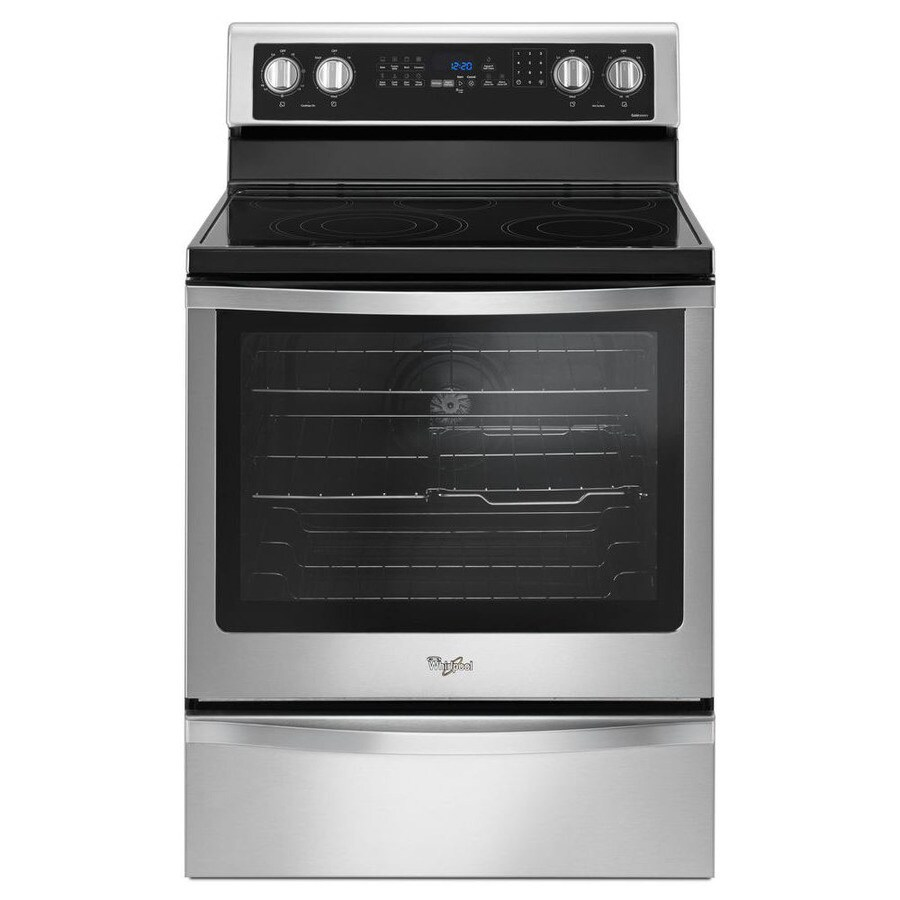 Whirlpool Smooth Surface Freestanding 5 6.4-cu ft Self-Cleaning Convection Electric Range (Fingerprint Resistant Stainless Steel) (Common: 30-in; Actual: 29.875-in)
