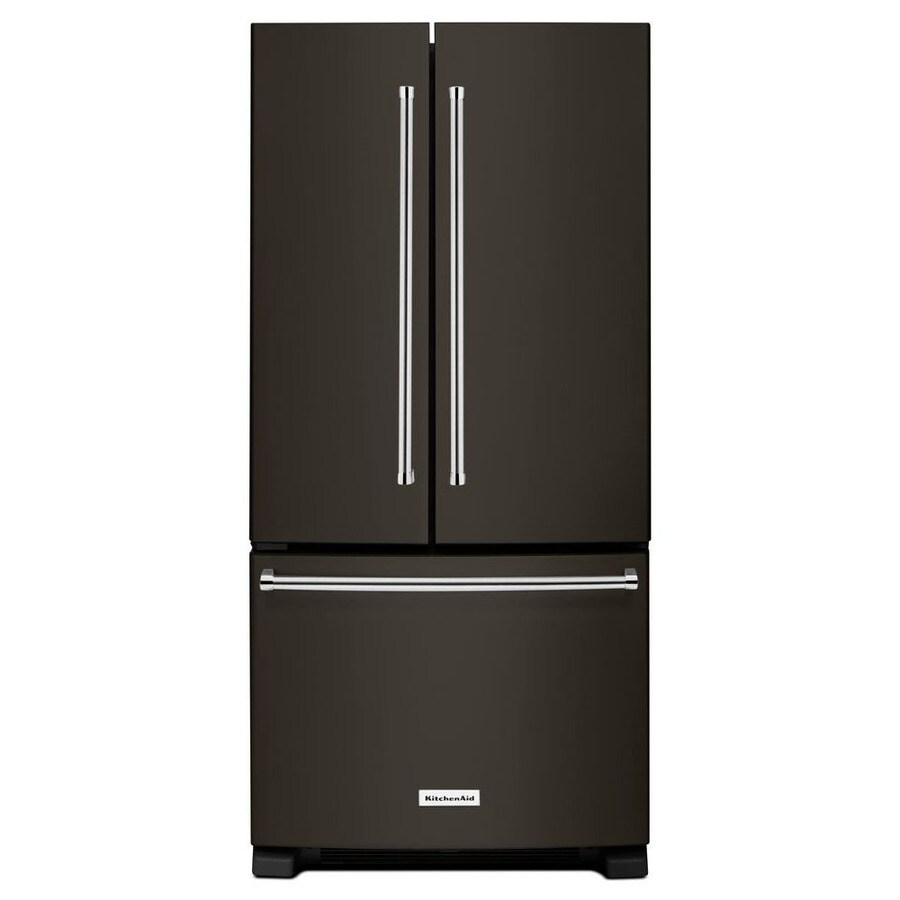 KitchenAid 22.1-cu ft French Door Refrigerator with Single Ice Maker (Black Stainless) ENERGY STAR