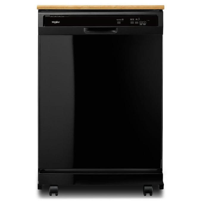 Whirlpool 24.125-in 64-Decibel Black Portable Dishwasher