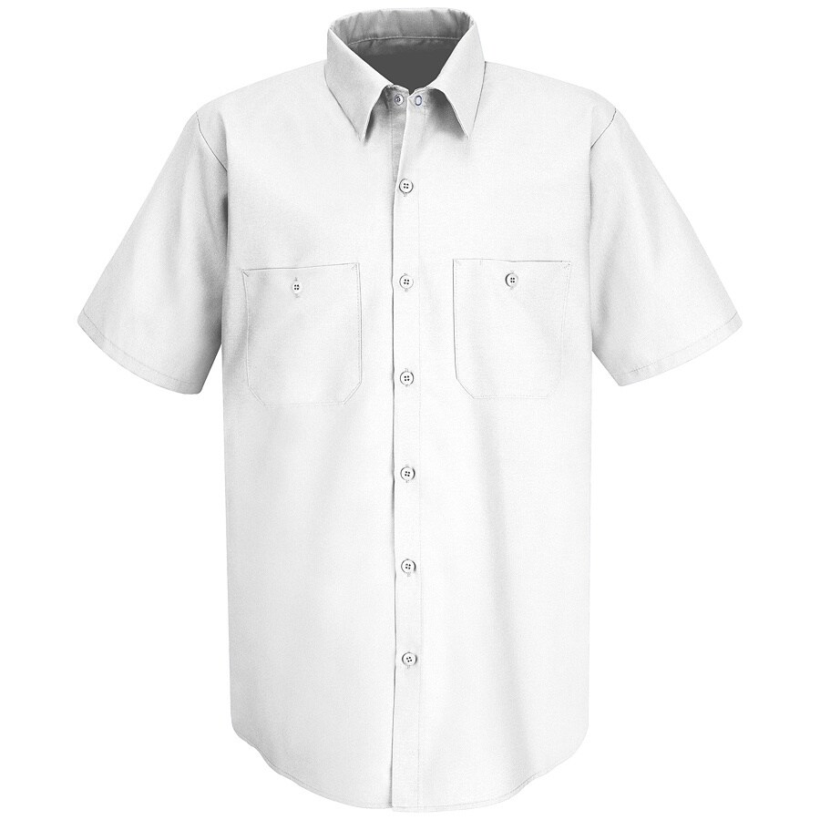 Red Kap Men's Medium-Long White Poplin Polyester Blend Short Sleeve Uniform Work Shirt