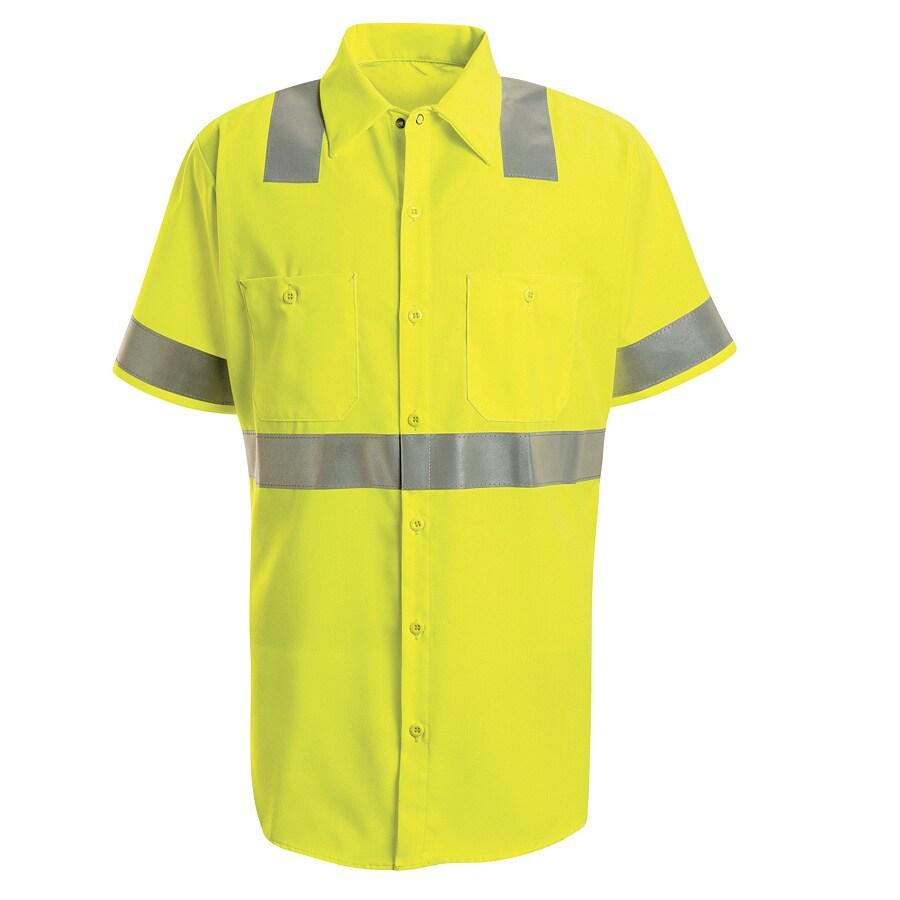 Red Kap Men's Large-Long Fluorescent Yellow Poplin Polyester Short Sleeve Uniform Work Shirt
