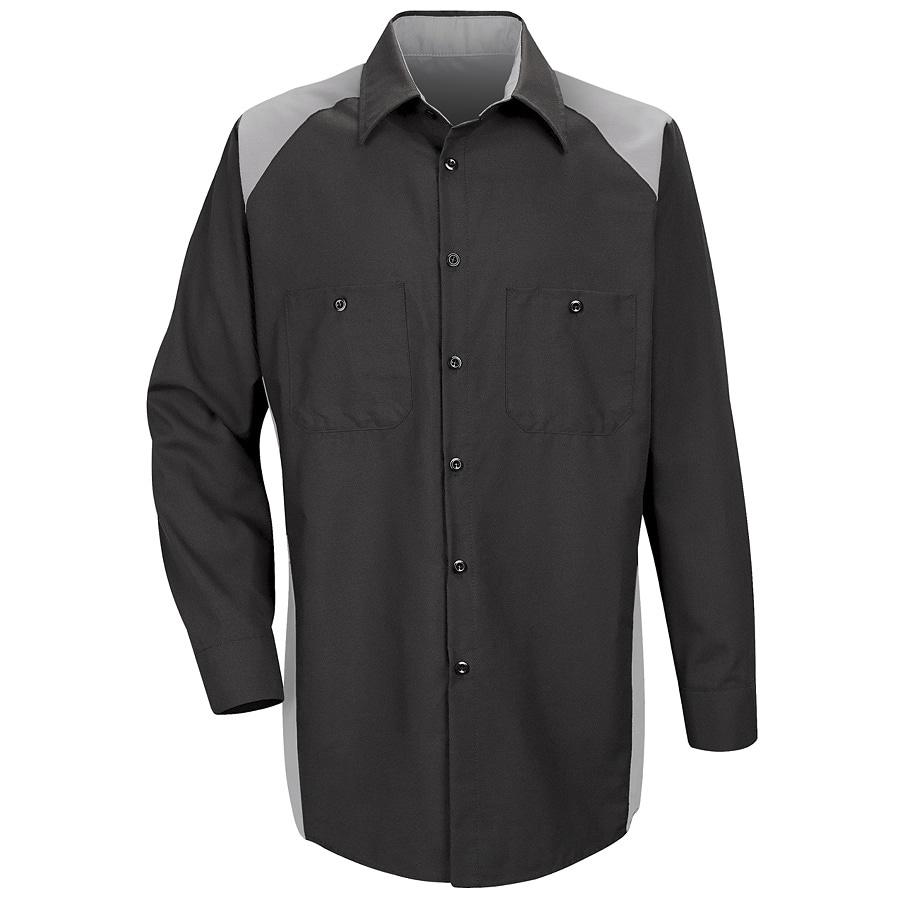 Red Kap Men's Large Silver Poplin Polyester Blend Long Sleeve Uniform Work Shirt