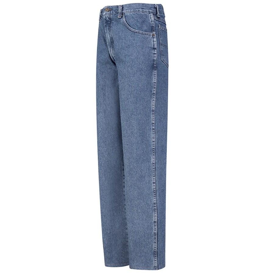 Red Kap Men's 44 x 30 Stonewash Denim Jean Work Pants