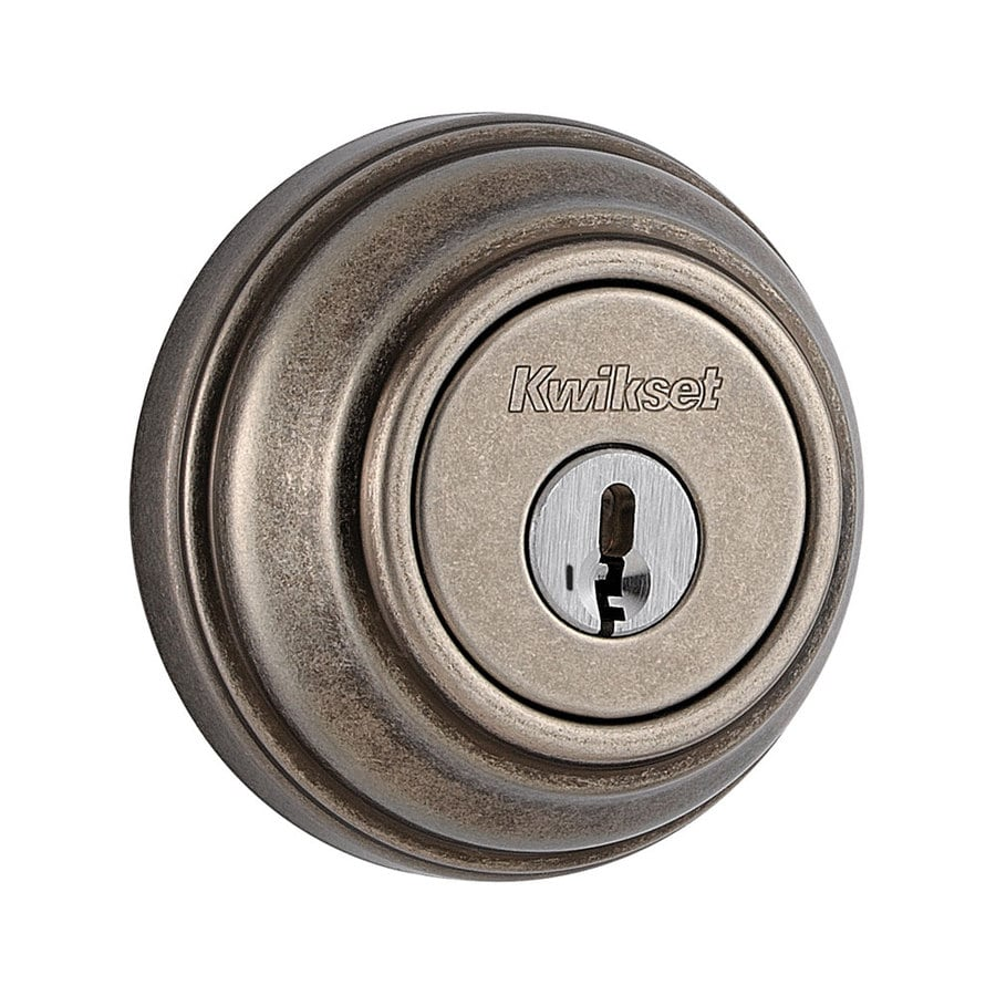 Kwikset Signature 980 Rustic Pewter Single-Cylinder Deadbolt